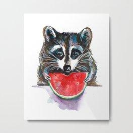 Raccoon Breakfast Metal Print