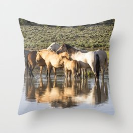 Reflection of a Mustang Family Throw Pillow