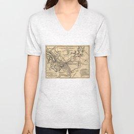 George Washington Trenton NJ Battlefield Map 1777 Unisex V-Neck