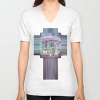 carousel V-neck T-shirts featuring Carousel by Heidi Fairwood