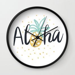 Aloha lettering and pineapple Wall Clock