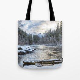 Morning on the McKenzie River Between Snowfalls Tote Bag