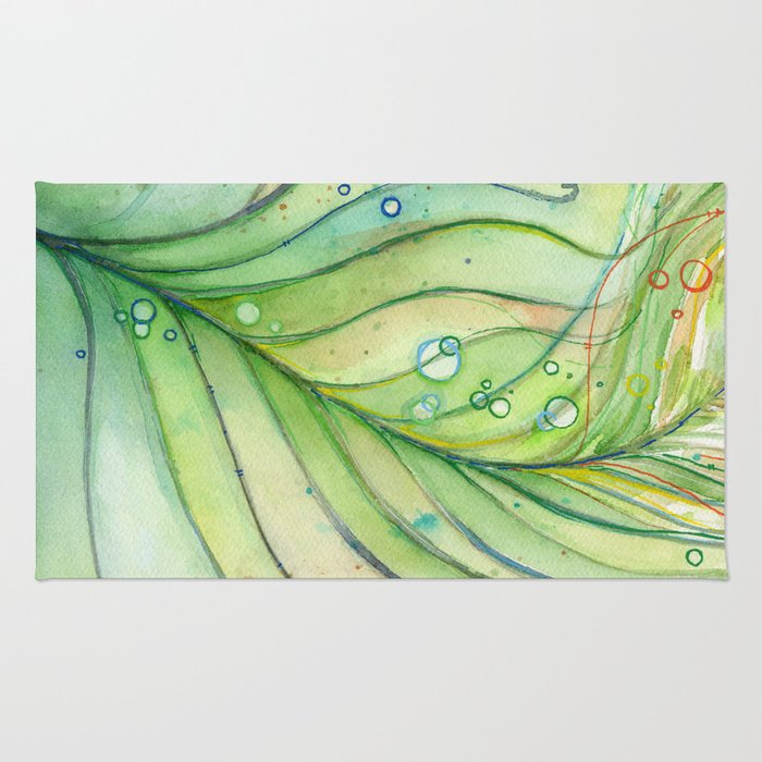 Green Watercolor Peacock Feather And Bubbles Rug By