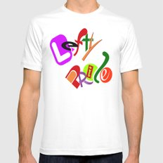 Lefty Pride MEDIUM White Mens Fitted Tee