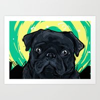 Piglet the Pug Art Print