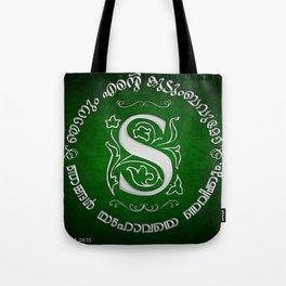 Joshua 24:15 - (Silver on Green) Monogram S Tote Bag