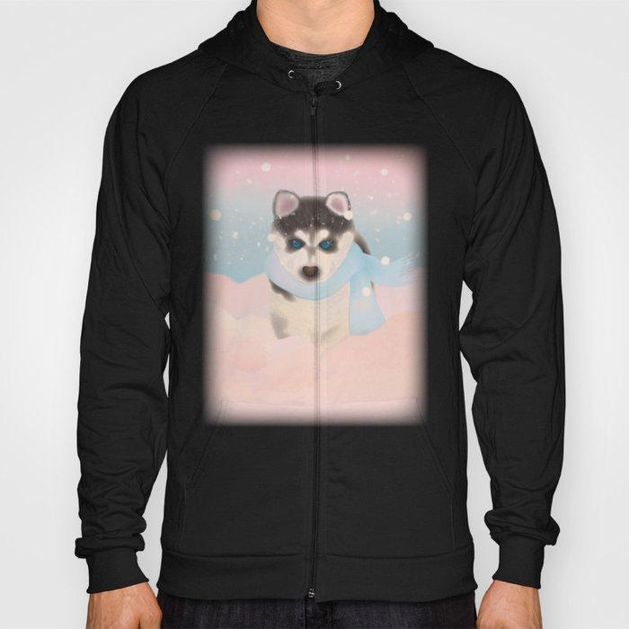 Husky Puppy in Snow Hoody