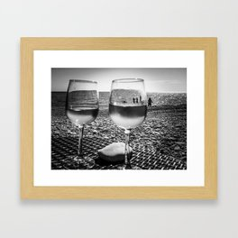 Glasses of rose wine on a beach in French Riviera Framed Art Print