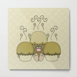 Cute Monster With Yellow Frosted Cupcakes Metal Print