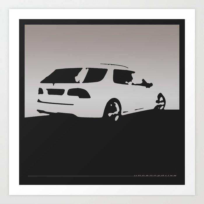 Saab 9 5 Aero Rear View Gray On Black Art Print