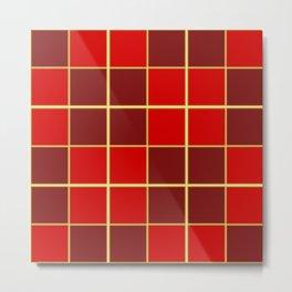 Reds check design Metal Print