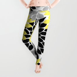 Yellow Black Gray Flower Burst Floral Pattern Leggings