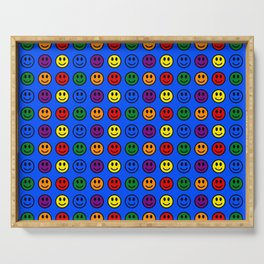 Blue Smiley Faces Pride Rainbow Colors Serving Tray