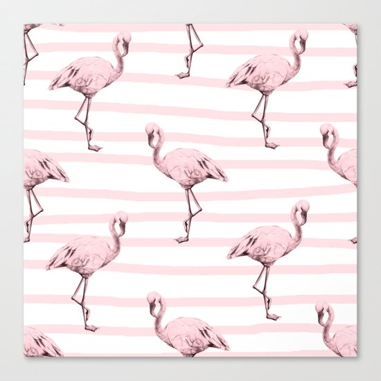 Flamingos on Drawn Stripes in Pink Flamingo Canvas Print