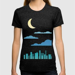 Moon, Clouds and City T-shirt