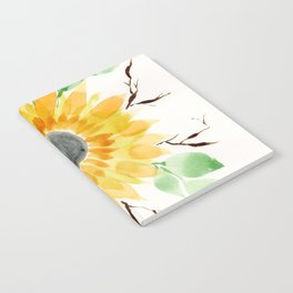 Fall Watercolor Large Sunflower Notebook