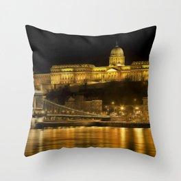 Budapest Golden Night Throw Pillow