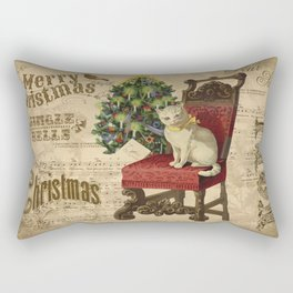 Vintage Christmas Cat Rectangular Pillow