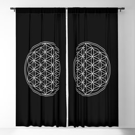 Flower of life on black Blackout Curtain