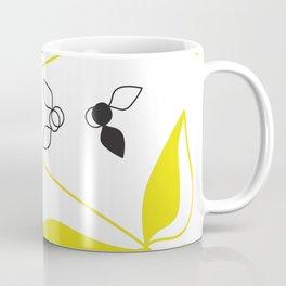 Abstract Floral Artwork Yellow and Black Coffee Mug
