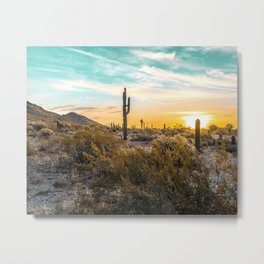 Desert Sunrise // Saguaro Cactus Summer Sun Arizona Nature Landscape Teal Blue Green Sky Metal Print