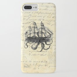 Kraken Octopus Attacking Ship Multi Collage Background iPhone Case