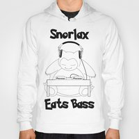 snorlax Hoodies featuring Snorlax Eats Bass by mattdawg8