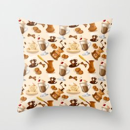 Coffee and Cookie Pattern Throw Pillow