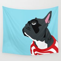frenchie Wall Tapestries featuring Frenchie-Poppy by SebinLondon