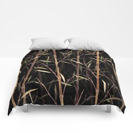Dry Bamboo Forest at Night Comforters