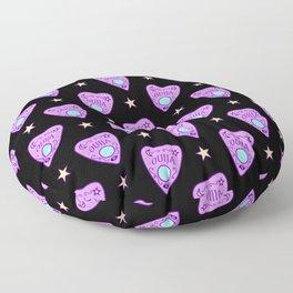 Planchette Pattern on Black Floor Pillow