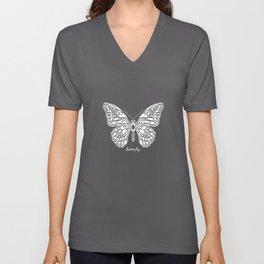 Butterfly White on Purple Background Unisex V-Neck