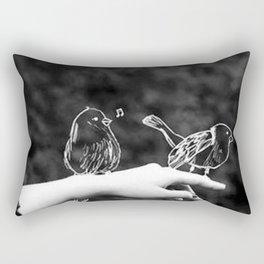 A bird on the hand Rectangular Pillow