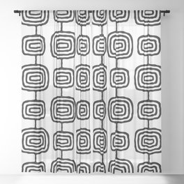 Mid Century Modern Atomic Rings Pattern Black and White 3 Sheer Curtain