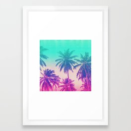 Pink Turquoise Tropical Beach Sunset Palms Framed Art Print
