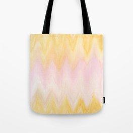 Modern hand painted pink yellow watercolor chevron ikat Tote Bag