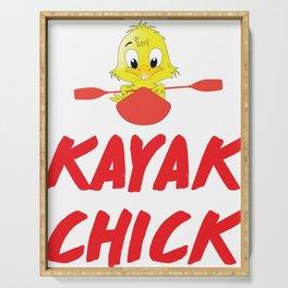 Kayak Chic Chick Kayaking Kayaker Nature Water Lover T Shirt Serving Tray
