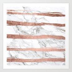 Modern chic faux rose gold brush stripes white marble Art Print
