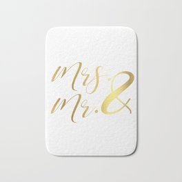 Mr Mrs Love Prints. Wedding Art Prints. Real Gold or Silver Foil Print. His and Hers Wall Art. Bath Mat