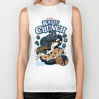 kaiju Biker Tanks featuring Kaiju Crunch by Matt Dearden