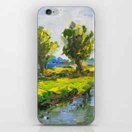 Dutch polderlandscape with willows iPhone Skin