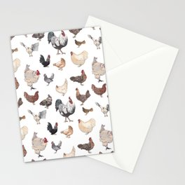 Chicken Happy (white) Stationery Cards