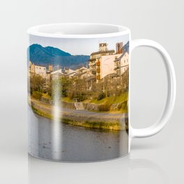 Panoramic view of Kamo River in Kyoto Coffee Mug