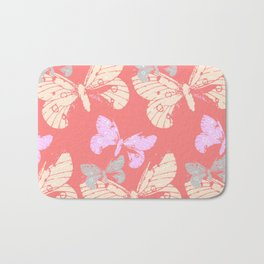 Butterflies on Coral Red Bath Mat