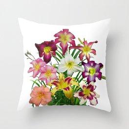 Celebration of daylilies II, Hemerocallis flowers Throw Pillow