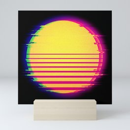Synthwave Sun Retro Glitch Vaporwave Aesthetic Mini Art Print