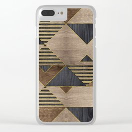 Geometric Wooden texture pattern Clear iPhone Case