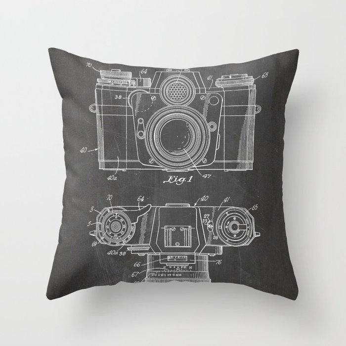 Camera Patent - Photography Art - Black Chalkboard Throw Pillow