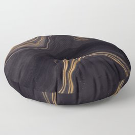 Dark Night Marble With Gold Glitter Waves Floor Pillow