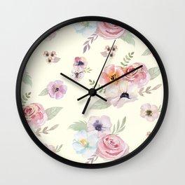 Floral I - Cream Wall Clock